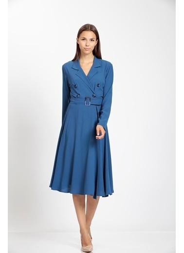 Vitrin Kruvaze Kemerli Kloş Elbise İndigo